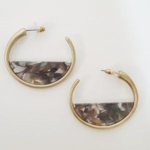 Boho Dangle Statement Earrings Half Circle Hoops